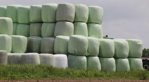 Bales should be stored upright.