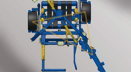 The machine is afforded more stability by its mounting position on top of an offset axle.