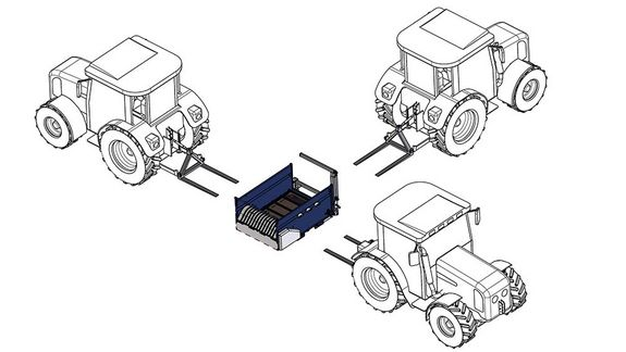 The variable attachment system allows for fodder distribution from three different directions.
