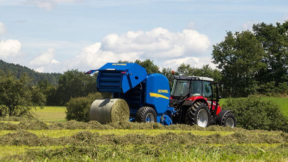 The G-1 round baler when placing a finished bale.